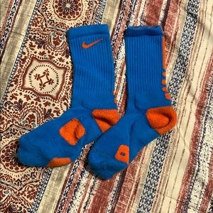 Blue and orange Nike elite socks